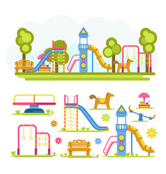 Cartoon bright playground full composition and vector