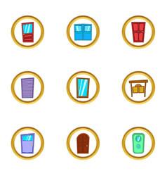 different door icons set cartoon style vector image