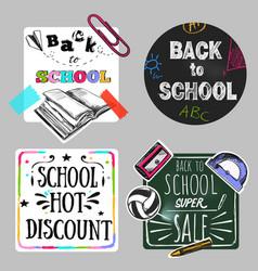 back to school doodle label set vector image