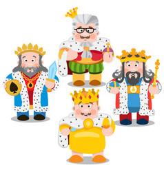 Four kings cartoon characters vector