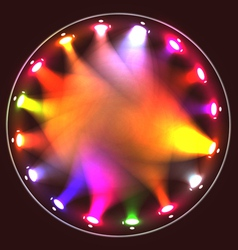 Colorful theatrical spotlights on a circular ramp vector image
