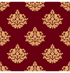 Pretty maroon damask style floral design vector