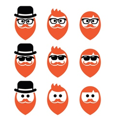 Faces man with beard icons set ginger vector