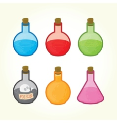 Glass bulbs with liquids icons vector