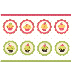 Set of cakes stickers vector
