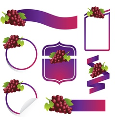 Grape label set vector