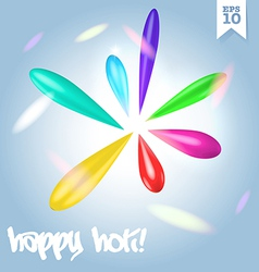 Colorful raonbow holi festival drops of paint vector