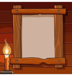 Blank sign in a wooden frame hanging on the wall vector