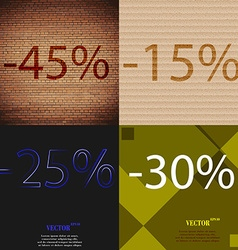15 25 30 icon set of percent discount on abstract vector