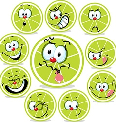 Lime icon cartoon with funny faces isolated on vector