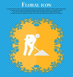 Repair of road construction work floral flat vector