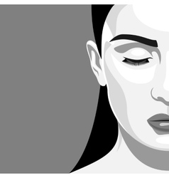 Half face portrait beauty woman with closed eyes vector