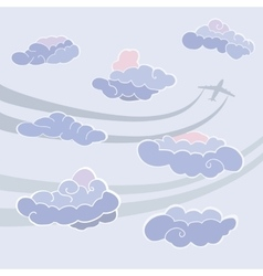 Clouds icon set sky pattern templete with clouds vector