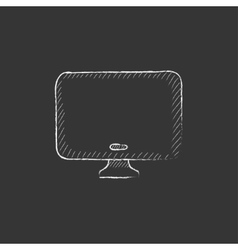 Monitor drawn in chalk icon vector