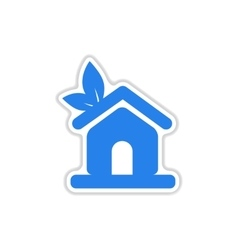 Paper sticker on white background eco-house vector