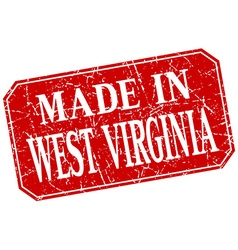 Made in west virginia red square grunge stamp vector