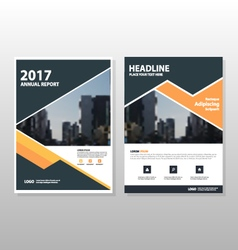 Orange triangle annual report leaflet templates vector