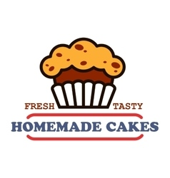 Homemade cakes and pastries sign for bakery design vector image