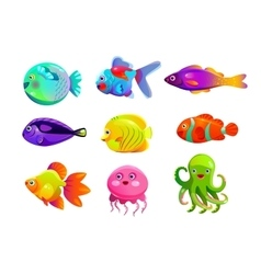 Funny cartoon colorful tropic fishes vector
