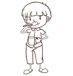 A plain sketch of a boy brushing his teeth vector
