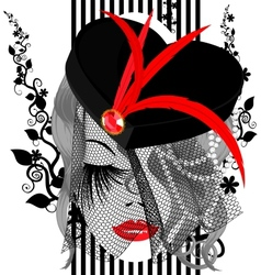 abstract black-red dame vector image vector image
