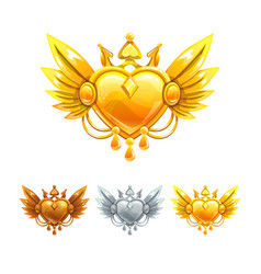 beautiful decorative metal heart icons set vector image