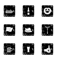 Beer fest icons set grunge style vector