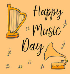 Collection stock of music day greeting card vector