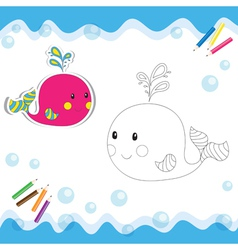 Coloring book whale vector image