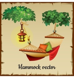 Comfortable hammock tree and lamp vector