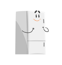 Cute smiling cartoon fridge character humanized vector