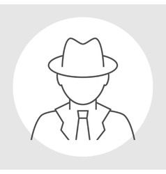 Detective avatar line icon vector image