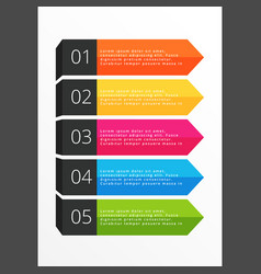 Five steps horizontal colorful banners vector