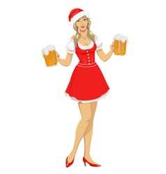 girl in Christmas hat with beer vector image vector image