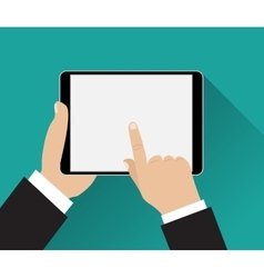 Hand touching screen of black tablet vector image