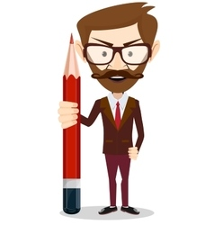 Handsome bearded businessman with pencil vector image