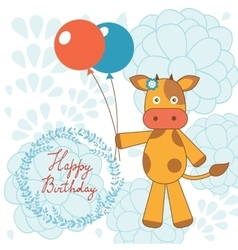 Happy birthday card with happy cow holding vector image vector image