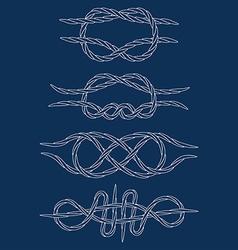 Knots Contours Doodle Hand drawn White vector image