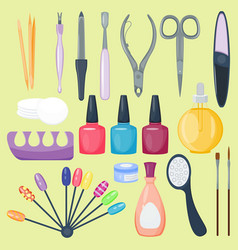 Manicure nail instruments tools vector