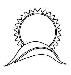 Monochrome contour with sun over hill close up vector