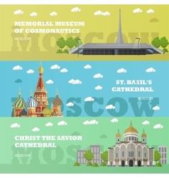 Moscow tourist landmark banners vector