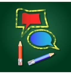 Pencils and speech bubbles vector image vector image