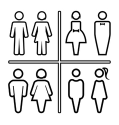 Restroom outline silhouettes icon set vector image