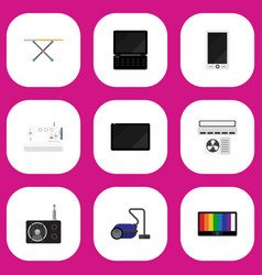 Set of 9 editable tech icons includes symbols vector