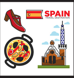 Spain travel destination promotional banner with vector