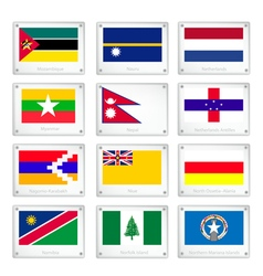 The Official National Flags on Metal Texture Plate vector image vector image