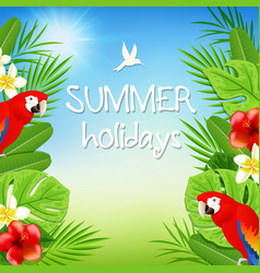 Tropical background with parrots vector