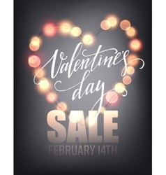 Valentines day sale poster template on abstract vector image