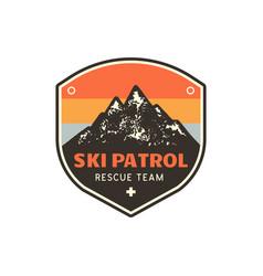 vintage hand drawn mountain ski patrol emblem vector image vector image