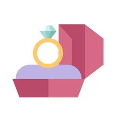 Wedding ring in a beautiful pink box flat vector